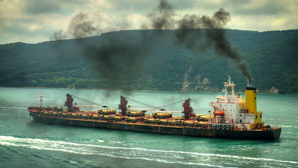 ship with smoke stacks
