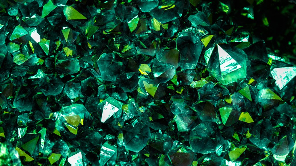 close up on a green gemstone