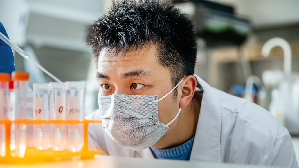 Close-Up Scientist observing experiment