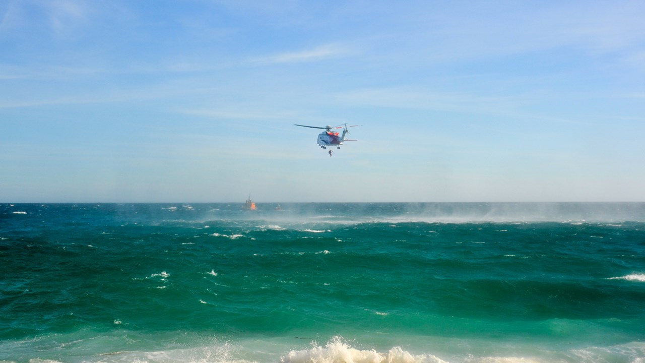 helicopter rescue over the ocean
