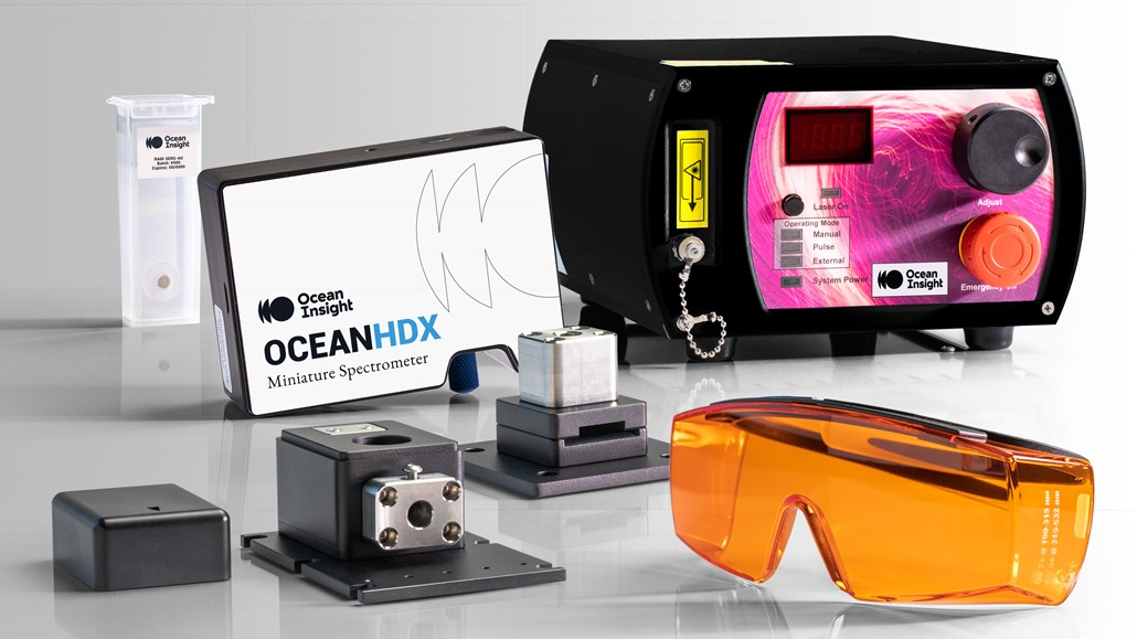 Ocean HDX Raman spectrometer with a laser and other Raman accessories